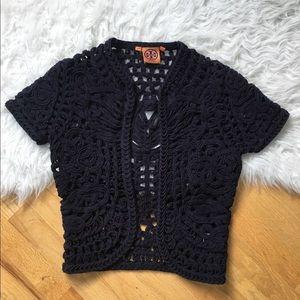 Tory Burch Crochet Cardigan Shrug Sweater Navy